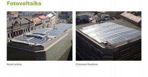 Fotovoltaika na provozní budově a Nové scéně ND. zdroj: www.uspornedivadlo.cz