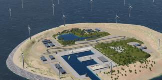 Plánovaný větrný ostrov v Severním moři, tennet.eu